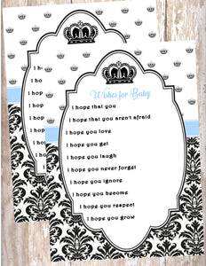 PRINCE - BABY SHOWER PRINTABLE - WISHES FOR BABY CARDS - JPG/PDF ONLY