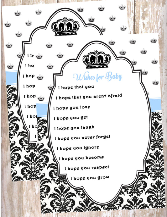 PRINCE - BABY SHOWER  - WISHES FOR BABY CARDS