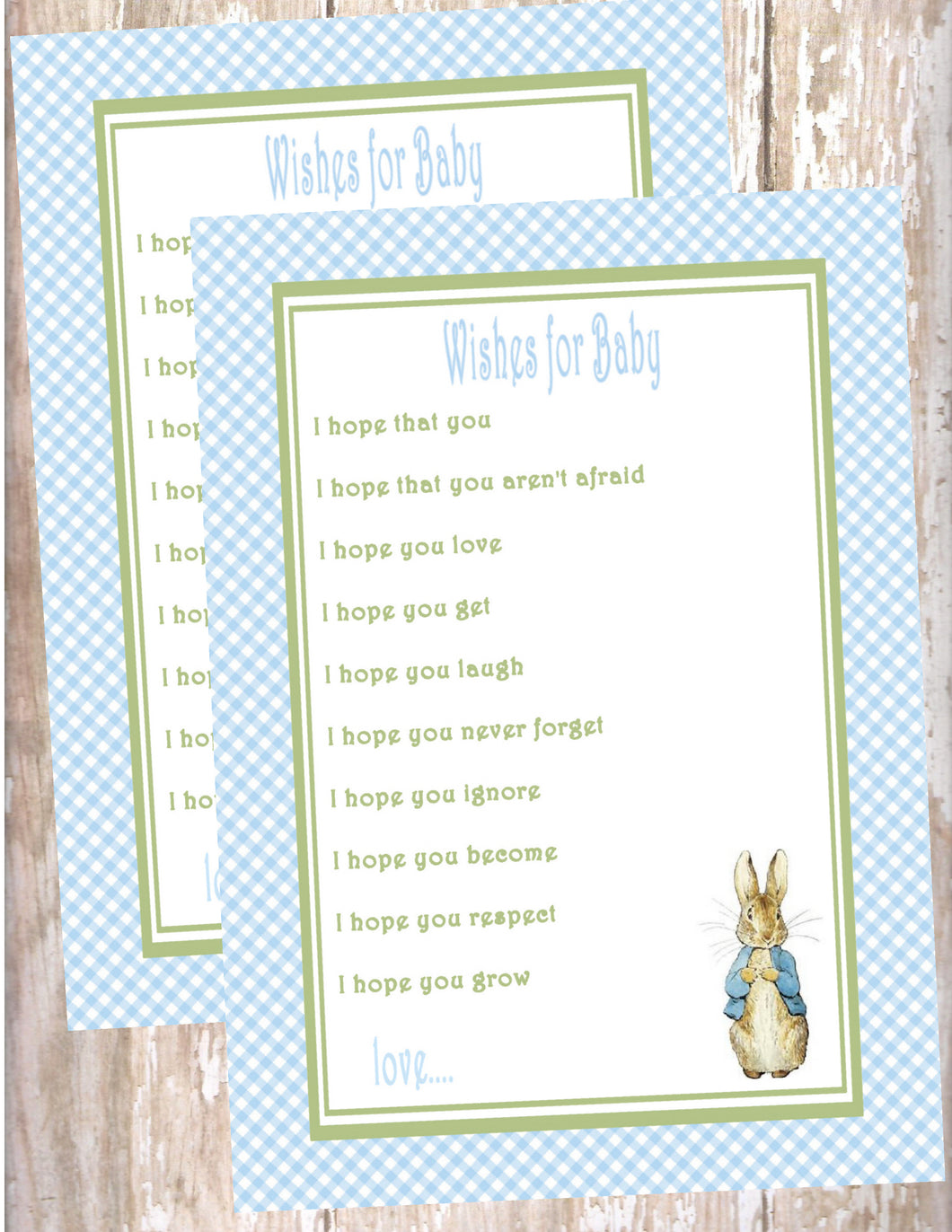PETER RABBIT BLUE - BABY SHOWER  - WISHES FOR BABY