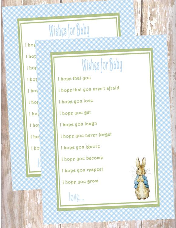 PETER RABBIT BLUE - BABY SHOWER  - PRINTABLE WISHES FOR BABY - JPG/PDF