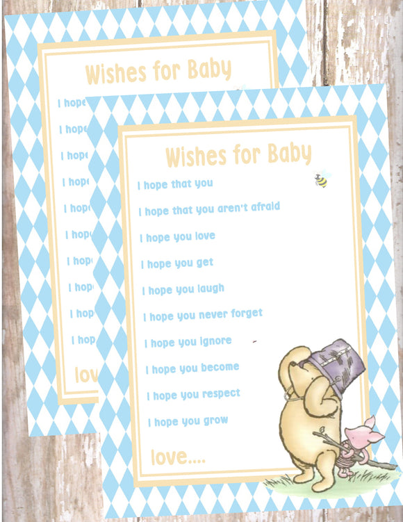 WINNIE THE POOH AND PIGLET BLUE  - BABY SHOWER  - WISHES FOR BABY CARD