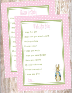PETER RABBIT PINK - BABY SHOWER  - PRINTABLE WISHES FOR BABY - JPG/PDF