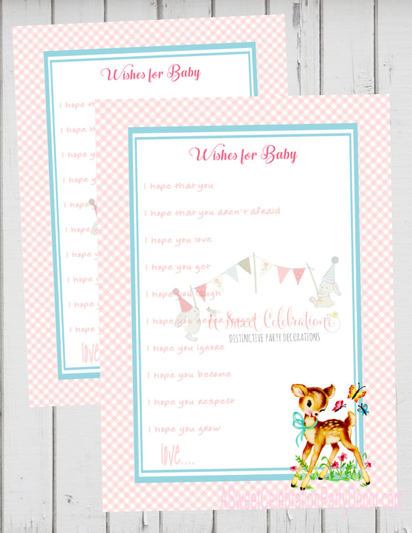 BAMBI - WOODLAND DEER - BABY SHOWER - WISHES FOR BABY