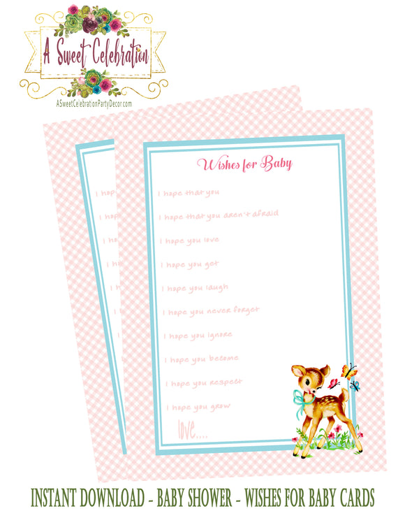 BAMBI - WOODLAND DEER - BABY SHOWER - PRINTABLE WISHES FOR BABY - JPG/PDF - INSTANT DOWNLOAD