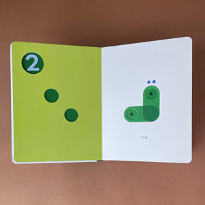 123-touch-think-learn-board-book-open-to-the-reveal-page-for-number-2-showing-a-slug