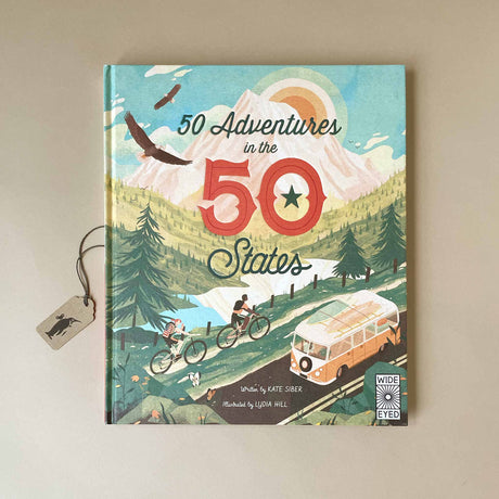 50-adventures-in-the-50-states-book-cover-showing-two-bikers-and-a-VW-van-along-a-mountain-landscape