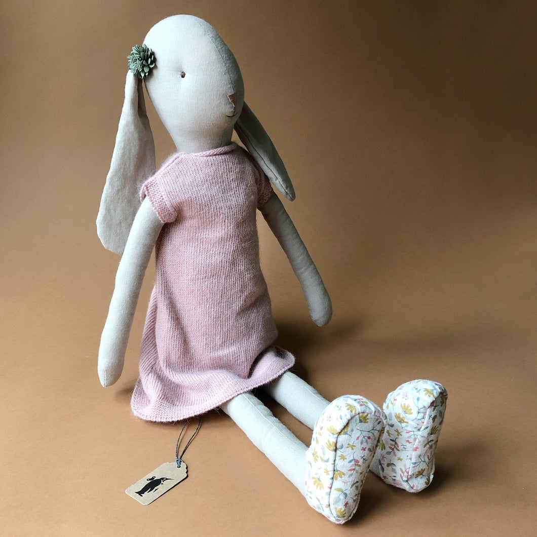 Bunny in Pink Knit Dress & Floral Shoes | Size 5 - Dolls & Doll Accessories - pucciManuli