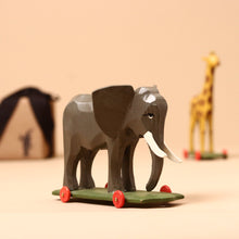 Load image into Gallery viewer, Elephant Wooden Ring-Turned Pull-Along - Figurines - pucciManuli