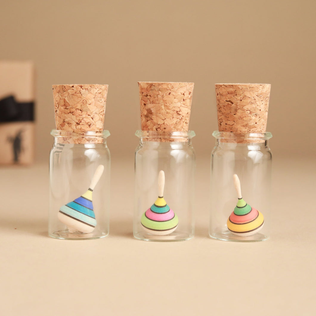 Mini Harlequin Wooden Spinning Top | Glass Display - Spinning Tops/Yo-Yos - pucciManuli