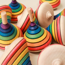 Load image into Gallery viewer, Rainbow Wooden Spinning Top - Spinning Tops/Yo-Yos - pucciManuli