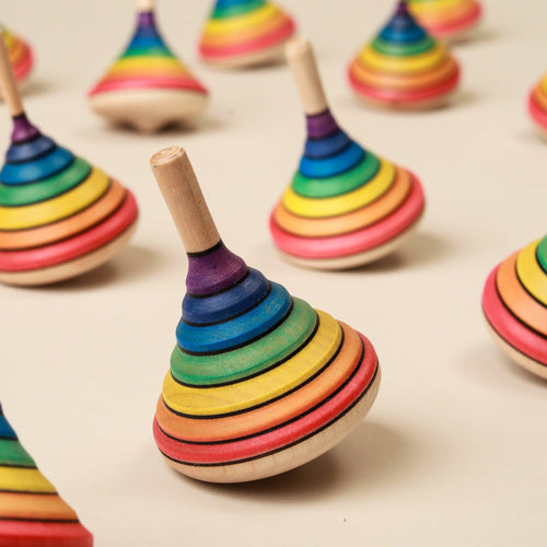 Rainbow Wooden Spinning Top - Spinning Tops/Yo-Yos - pucciManuli