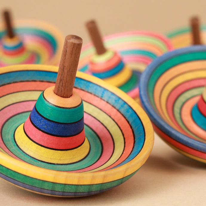 Sombrero Wooden Spinning Top | Striped - Spinning Tops/Yo-Yos - pucciManuli