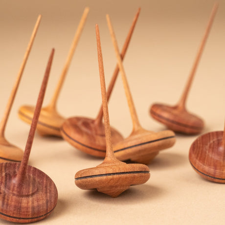 Spaghetti Wooden Spinning Top | Natural - Spinning Tops/Yo-Yos - pucciManuli