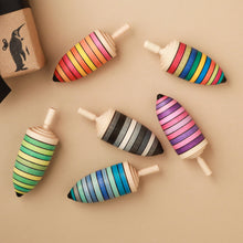 Load image into Gallery viewer, Thunderbolt Wooden Spinning Top | Stripes - Spinning Tops/Yo-Yos - pucciManuli