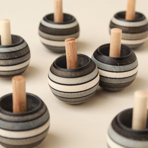 Upside-Down Wooden Spinning Top | Graphite Stripes - Spinning Tops/Yo-Yos - pucciManuli
