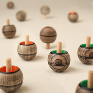 Upside-Down Wooden Spinning Top | Grey - Spinning Tops/Yo-Yos - pucciManuli