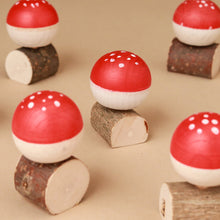 Load image into Gallery viewer, Upside-Down Wooden Spinning Top Mushroom & Stand | Red - Spinning Tops/Yo-Yos - pucciManuli