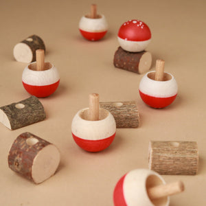 Upside-Down Wooden Spinning Top Mushroom & Stand | Red - Spinning Tops/Yo-Yos - pucciManuli