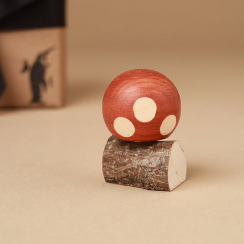 Upside-Down Wooden Spinning Top Mushroom & Stand | Brown - Spinning Tops/Yo-Yos - pucciManuli
