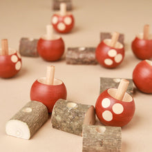 Load image into Gallery viewer, Upside-Down Wooden Spinning Top Mushroom & Stand | Brown - Spinning Tops/Yo-Yos - pucciManuli