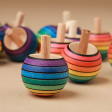 Load image into Gallery viewer, Upside-Down Wooden Spinning Top | Rainbow - Spinning Tops/Yo-Yos - pucciManuli