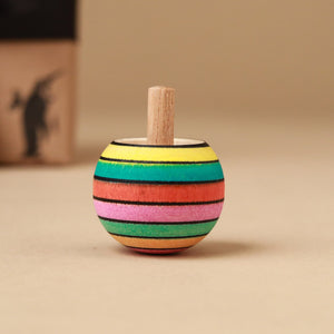 Upside-Down Wooden Spinning Top | Spring Stripes - Spinning Tops/Yo-Yos - pucciManuli