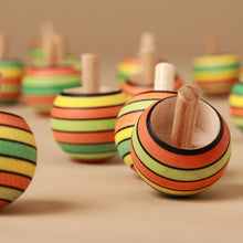 Load image into Gallery viewer, Upside-Down Wooden Spinning Top | Summer Stripes - Spinning Tops/Yo-Yos - pucciManuli