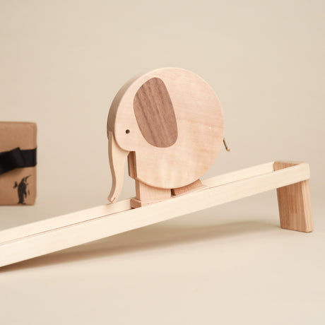 Wooden-Walking-Elephant-Toy-and-Ramp-all-in-natural-wood-by-grunspecht