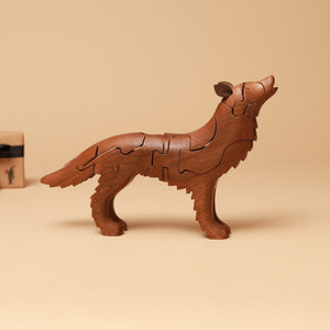 Wooden 3-D Howling Wolf Puzzle | Walnut - Puzzles - pucciManuli