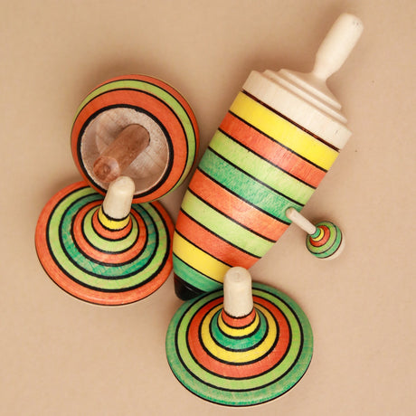 Wooden Spinning Top Gift Set | Summer Stripes - Spinning Tops/Yo-Yos - pucciManuli
