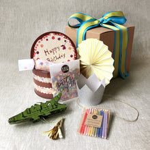 Load image into Gallery viewer, birthday-in-a-box-with-confetti-party-poppers-crocodile-favor-candles-and-silver-crown