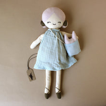 Load image into Gallery viewer, apple-doll-in-blue-dress-with-pink-hair-and-purse-with-small-creature