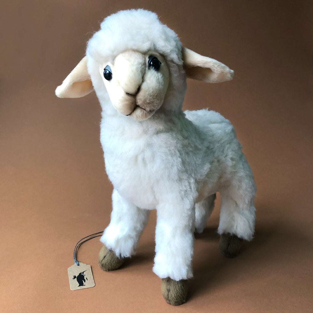 Baby-White-Sheep-Stuffed-Animal-white-furry-fabric-and-cream-face-and-ears-by-hansa