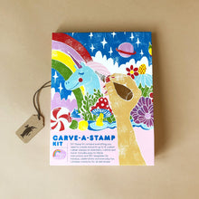 Load image into Gallery viewer, carve-a-stamp-kit-packaging-showing-illustrated-unicorn-and-rainbow