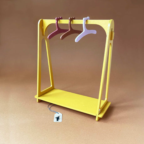 doll-clothes-rack-wood-yellow-with-three-wooden-hangers-with-bear-ears