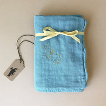 Load image into Gallery viewer, Embroidered Cotton Muslin Square | Bleu - Baby (Accessories) - pucciManuli