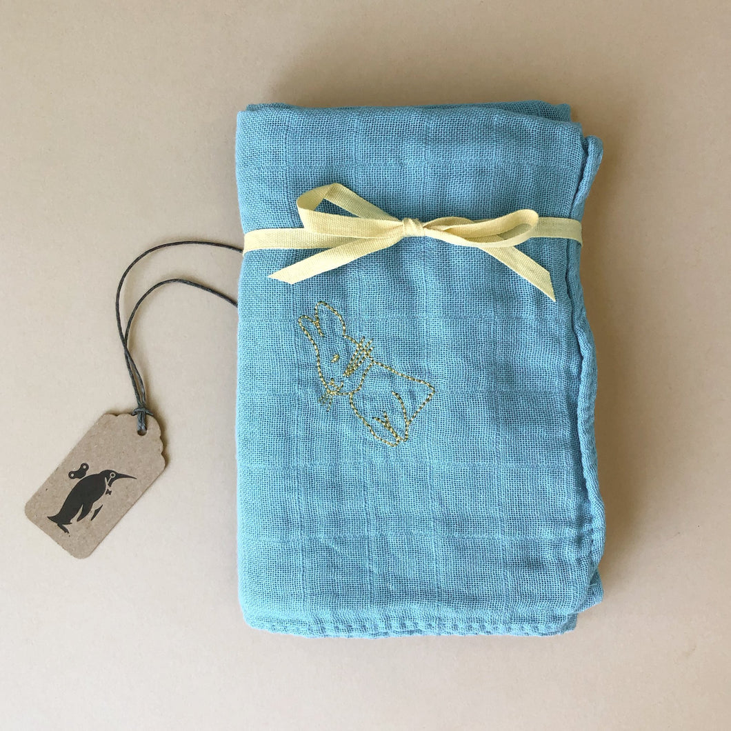Embroidered Cotton Muslin Square | Bleu - Baby (Accessories) - pucciManuli