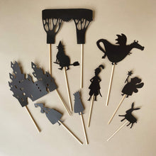 Load image into Gallery viewer, enchanted-forest-shadow-puppets-on-wooden-sticks