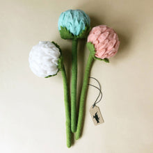 Load image into Gallery viewer, felted-allium-flower-bouquet-with-blue-pink-and-white-flowers-and-green-stems