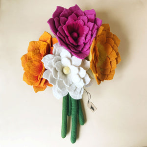 felted-lotus-flower-boquet-with-orange-pink-and-magenta-flowers
