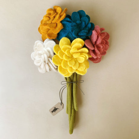 felted-zinnia-flower-bouquet-with-yellow-white-orange-blue-and-pink-flowers-and-moss-green-stems