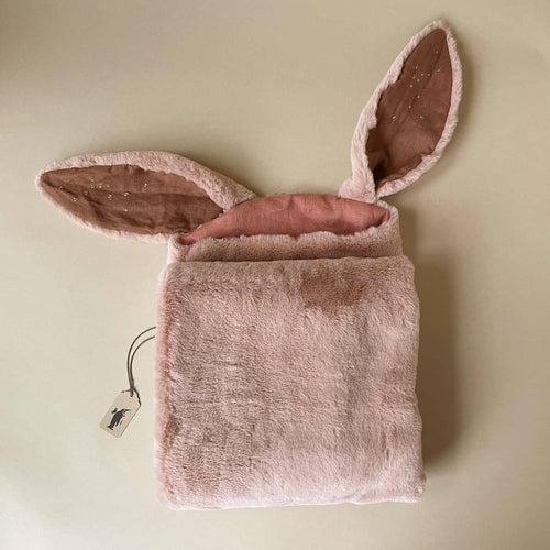 fuzzy-rose-blanket-with-rabbit-ears-lined-in-dusty-rose-with-stitched-accents