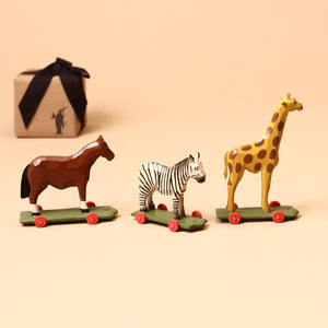 Giraffe Wooden Ring-Turned Pull-Along - Figurines - pucciManuli