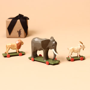 Goat Wooden Ring-Turned Pull-Along - Figurines - pucciManuli