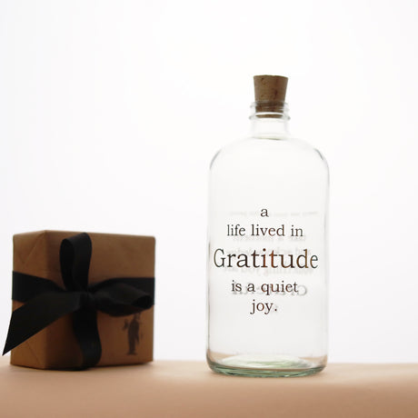 Gratitude Apothecary Jar | Clear & Gold - Home Decor - pucciManuli