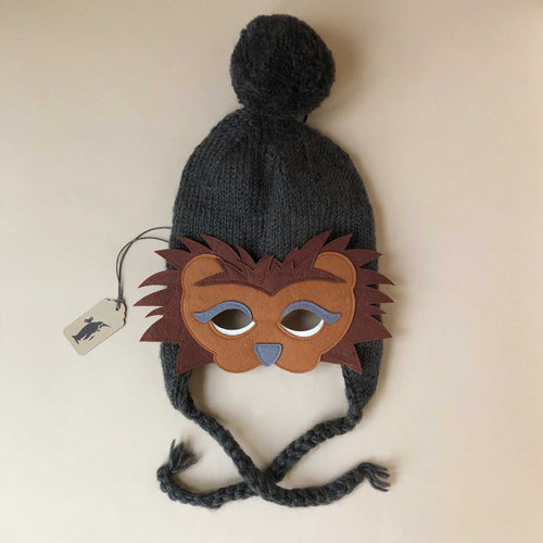 Hand-Knit Charcoal Lion Hat & Felt Mask - Baby (Accessories) - pucciManuli