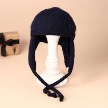 Load image into Gallery viewer, knitted-navy-hat-with-chin-strap