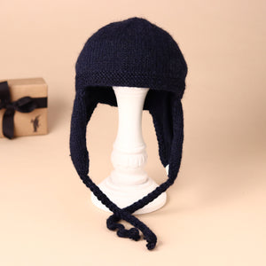 Hand-Knit Navy Kangaroo Hat & Felt Mask - Clothing - pucciManuli