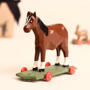 Horse Wooden Ring-Turned Pull-Along - Figurines - pucciManuli