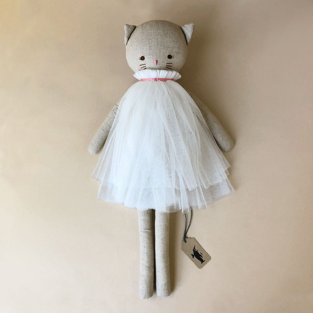 Aurelie Cat Doll | Ivory Tulle Dress - Dolls & Doll Accessories - pucciManuli